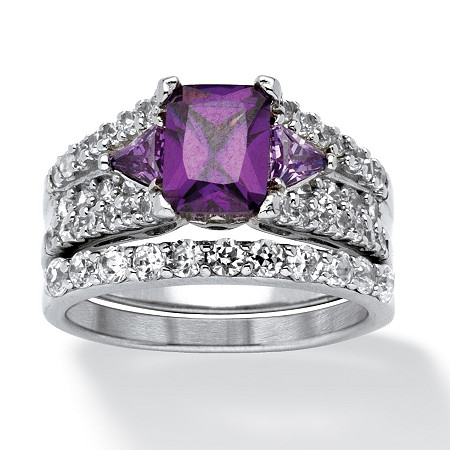 3.91 TCW Emerald-Cut Purple Cubic Zirconia Two-Piece Bridal Set in Sterling Silver at PalmBeach Jewelry