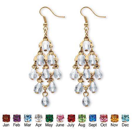 Birthstone Teardrop Chandelier Earrings in Yellow Gold Tone at PalmBeach Jewelry