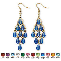 Simulated Birthstone Teardrop Chandelier Earrings in Yellow Gold Tone
