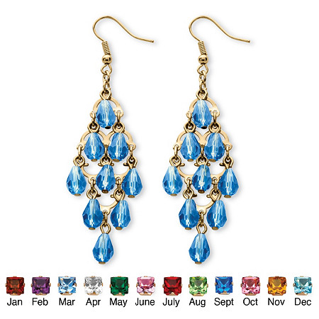 Simulated Birthstone Teardrop Chandelier Earrings in Yellow Gold Tone at PalmBeach Jewelry