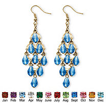 SETA JEWELRY Simulated Birthstone Teardrop Chandelier Earrings in Yellow Gold Tone