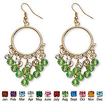 Birthstone Chandelier Earrings with Crystal Accents in Yellow Gold Tone