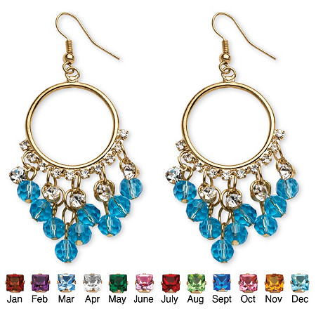 Birthstone Chandelier Earrings with Crystal Accents in Yellow Gold Tone at PalmBeach Jewelry