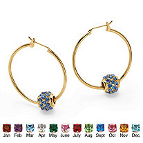"Birthstone Bead Hoop Earrings in Yellow Gold Tone (1"")"