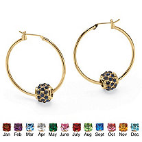 "Simulated Birthstone Bead Hoop Earrings in Yellow Gold Tone (1"")"