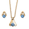 Related Item Round Simulated Birthstone Solitaire Necklace and Earring Set in Goldtone 18