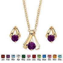 SETA JEWELRY Round Simulated Birthstone Solitaire Necklace and Earring Set in Goldtone 18