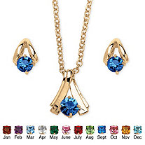 Round Simulated Birthstone Solitaire Necklace and Earring Set in Goldtone 18""