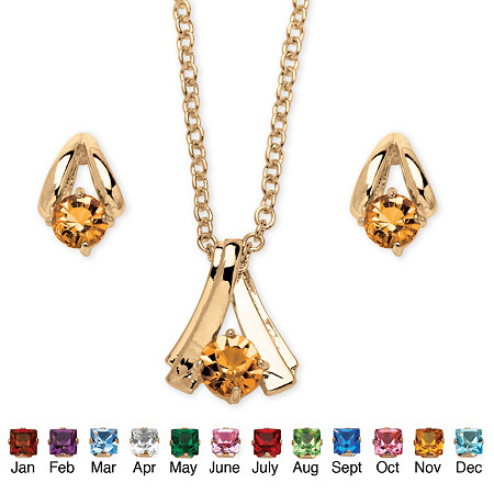 2 Piece Round Birthstone Necklace and Earrings Set in Yellow Gold Tone at PalmBeach Jewelry
