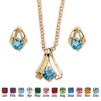 2 Piece Round Birthstone Necklace and Earrings Set in Yellow Gold Tone