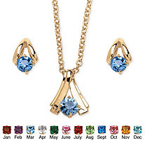 Round Birthstone Solitaire Necklace and Earring Set in Goldtone 18""