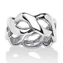 SETA JEWELRY Crossover Link Style Ring in Sterling Silver