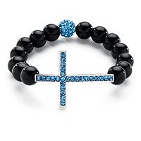 "Genuine Onyx Beaded Horizontal Cross Birthstone Stretch Bracelet In Silvertone 8"""