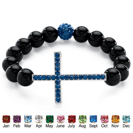 Genuine Onyx Horizontal Birthstone Cross Beaded Stretch Bracelet in Silvertone 8
