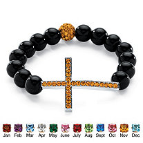 Genuine Onyx Horizontal Birthstone Cross Beaded Stretch Bracelet in Silvertone 8""