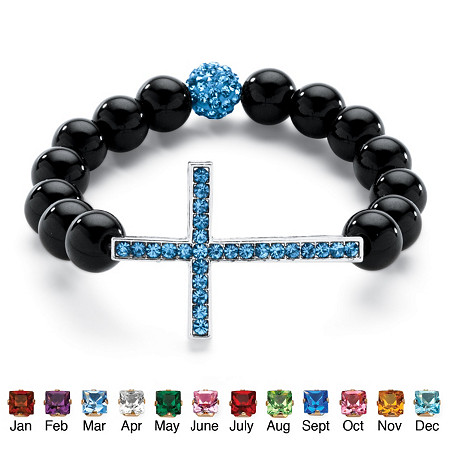 Genuine Onyx Horizontal Birthstone Cross Beaded Stretch Bracelet in Silvertone 8