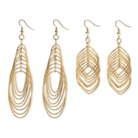 Multi-Chain Yellow Gold Tone Two-Pair Drop Earrings Set at PalmBeach Jewelry