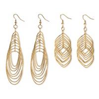 Multi-Chain Yellow Gold Tone Two-Pair Drop Earrings Set