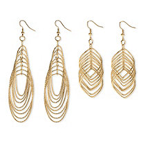 Multi-Chain Yellow Gold Tone Two-Pair Drop Earrings Set