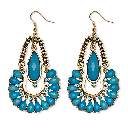 Aqua Crystal Chandelier Earrings in Yellow Gold Tone at PalmBeach Jewelry