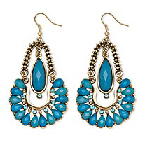 SETA JEWELRY Aqua Crystal Chandelier Earrings in Yellow Gold Tone