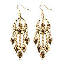 SETA JEWELRY Black Crystal Teardrop and Chain Chandelier Earrings in Yellow Gold Tone