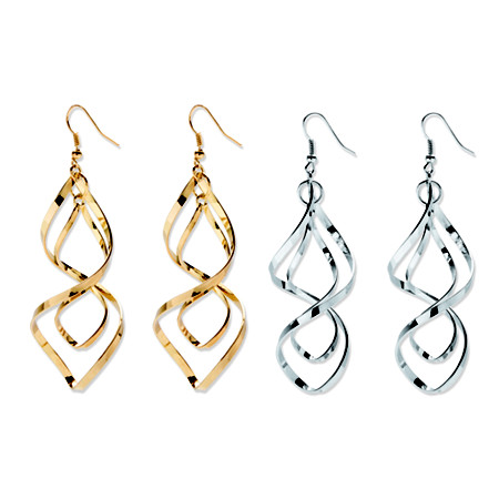 Free-Form Silvertone and Yellow Gold Tone Twist Earrings Two-Pair Set at PalmBeach Jewelry