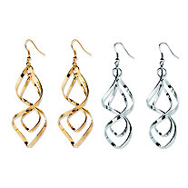Free-Form Silvertone and Yellow Gold Tone Twist Earrings Two-Pair Set