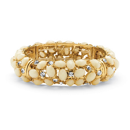 Ecru Cabochon and Crystal Bracelet in Yellow Gold Tone at PalmBeach Jewelry