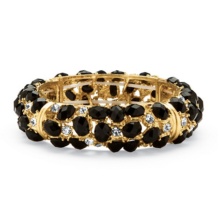 Black Cabochon and Crystal Bracelet in Yellow Gold Tone at PalmBeach Jewelry