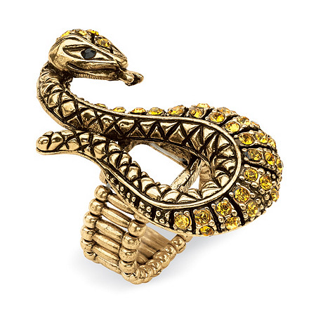 Crystal Serpent Stretch Ring in Antiqued Yellow Gold Tone at PalmBeach Jewelry