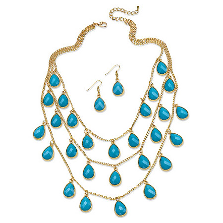 Aqua Teardrop Checkerboard-Cut Cabochon Jewelry Two-Piece Set in Yellow Gold Tone at PalmBeach Jewelry