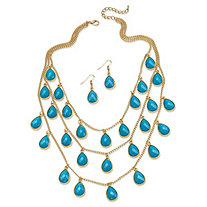 Aqua Teardrop Checkerboard-Cut Cabochon Jewelry Two-Piece Set in Yellow Gold Tone