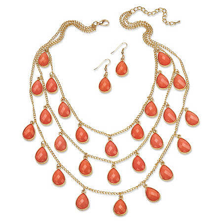 Orange Simulated Coral Yellow Gold Tone Cabochon Triple-Strand Necklace and Earrings Set 18