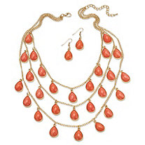 Orange Simulated Coral Yellow Gold Tone Cabochon Triple-Strand Necklace and Earrings Set 18""