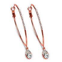 Crystal Drop Hoop Earrings in Rose Gold-Plated (1 1/2