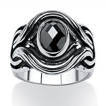 Men's 1.86 TCW Black Oval-Cut Cubic Zirconia Evil Eye Ring in Antiqued Stainless Steel Sizes 9-16
