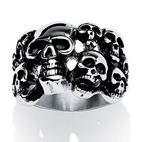 Men's Cluster Skull Ring in Antiqued Stainless Steel Sizes 9-16