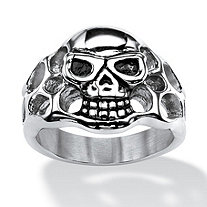 Men's Openwork Skull Ring in Antiqued Stainless Steel Sizes 9-16