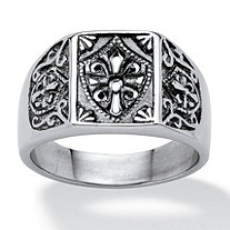 SETA JEWELRY Men's Cross and Crest Signet Ring in Stainless Steel