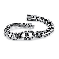 Men's Tribal Design Curb-Link Bracelet in Stainless Steel 9