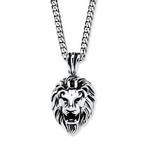 SETA JEWELRY Lion's Head Pendant and Chain in Antiqued Stainless Steel 24