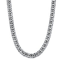 "Men's Curb-Link Chain in Stainless Steel 24"" (11mm)"