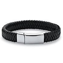 Men's Braided Leather Bracelet in Stainless Steel 10""