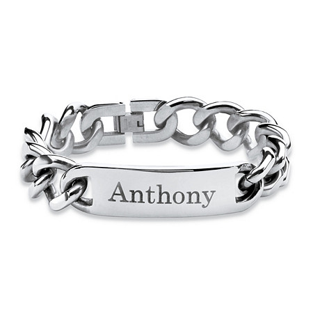 "Men's 15 mm Personalized I.D. Bracelet in Stainless Steel 9"" at PalmBeach Jewelry"