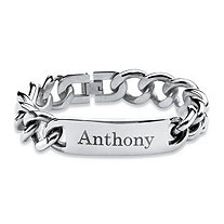 SETA JEWELRY Men's 15 mm Personalized I.D. Bracelet in Stainless Steel 9