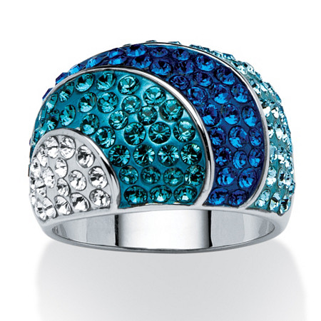 Teal, Blue and Aqua Crystal Dome Ring MADE WITH SWAROVSKI ELEMENTS Platinum-Plated at PalmBeach Jewelry