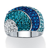 Teal, Blue and Aqua Crystal Dome Ring MADE WITH SWAROVSKI ELEMENTS Platinum-Plated