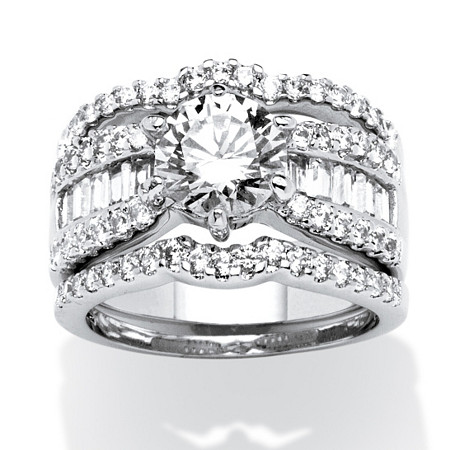 3.67 TCW Round Cubic Zirconia 3-Piece Multi-Row Bridal Ring Set at PalmBeach Jewelry