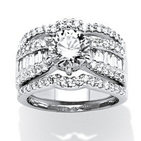 3.67 TCW Round Cubic Zirconia 3-Piece Multi-Row Bridal Ring Set